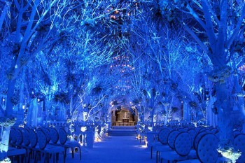Winter wedding scene