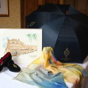 RS Umbrella, print, slippers and silk scarf